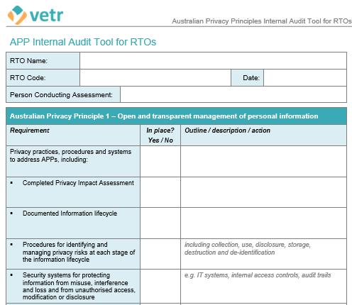 Australian Privacy Principles Internal Audit Tool For Rtos